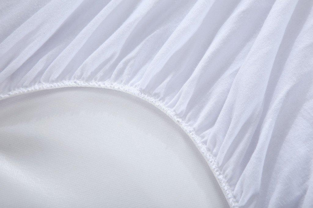 HYSENM Prot/ège Matelas Al/èse Flanelle 100/% Imperm/éable Ultra Doux Respirant Forme Drap Housse Silencieux R/ésistant aux Lavages Anti-acariens Antibact/érien Blanc 90x190//200