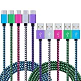 Samsung Galaxy S8 Charger Cable, NonoUV 5-Pack Nylon Braided USB Type C Fast Charging Cord For Samsung Note 8/S8 Plus, Google Pixel, Nexus 6P, LG G5/G6, Moto Z Z2, Nintendo Switch, Moto Z2 Play