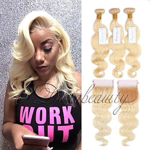 Dorabeauty #613 Platinum Blonde Hair 4×4 Lace Closure with 3 Bundles 100% Brazilian Remy Human Hair