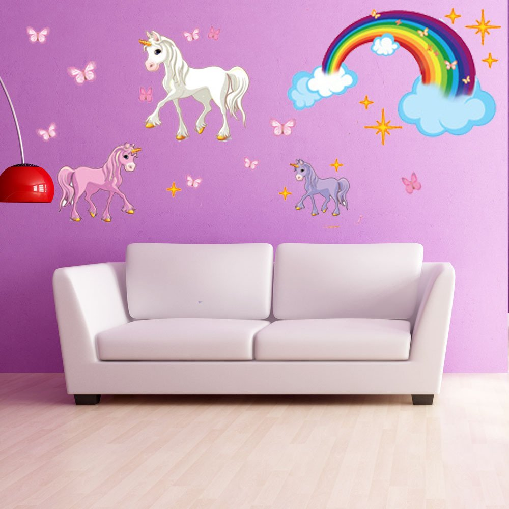 Amazon unicorn set wall decal with rainbow by style apply amazon unicorn set wall decal with rainbow by style apply girls room wall decal sticker for girls nursery vinyl wall art kids room decor ds amipublicfo Images