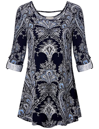 Furnex Floral Tops  Womens Elegant Floral Printed Tunic Tops Flared Comfy Loose Fit Business Casual Clothes For Women  Xx Large Multicolor Blue
