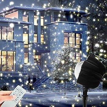 christmas led snowfall light rotating night light projector snow flurries spotlight wireless remote white