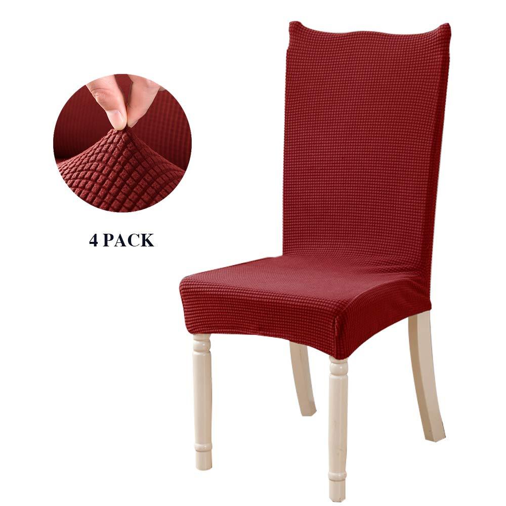Feilaxleer jacquard coprisedie con schienale 4 pezzi elasticizzato,coprisedie sala da pranzo coperture decorative per casa, cucina, hotel e