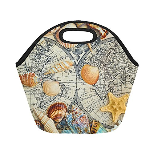 InterestPrint Sea Shells World Map Reusable Insulated Neoprene Lunch Tote Bag Cooler 11.93