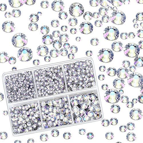 4000 Pieces Mixed Size Hot Fix Round Crystals Gems Glass Stones Hotfix Flat Back Rhinestones (Sky Purple) ()