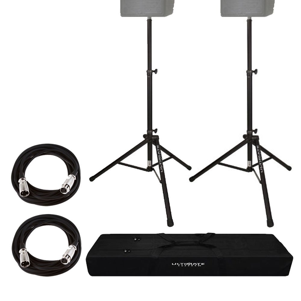 Ultimate Support TS80B Speaker Stand, Black + On Stage Mic Cable, 20 ft. XLR Bulk + Ultimate Support BAG-90D Speaker Stand Tote + Deluxe Bundle