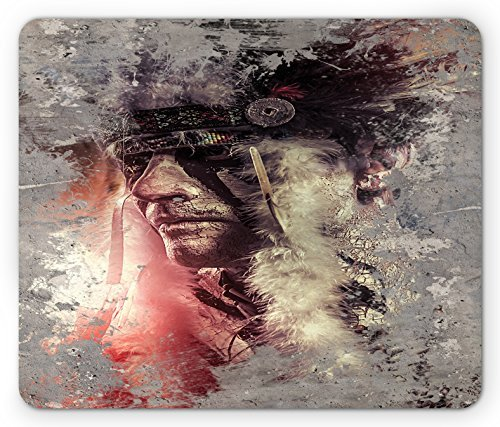 Native American Mouse Pad Grunge Artistic Image of Apache Man Face Warrior Chief of the Tribe, Standard Size Rectangle Non-Slip Rubber Mousepad, Grey Black - Coral Black Hawaii