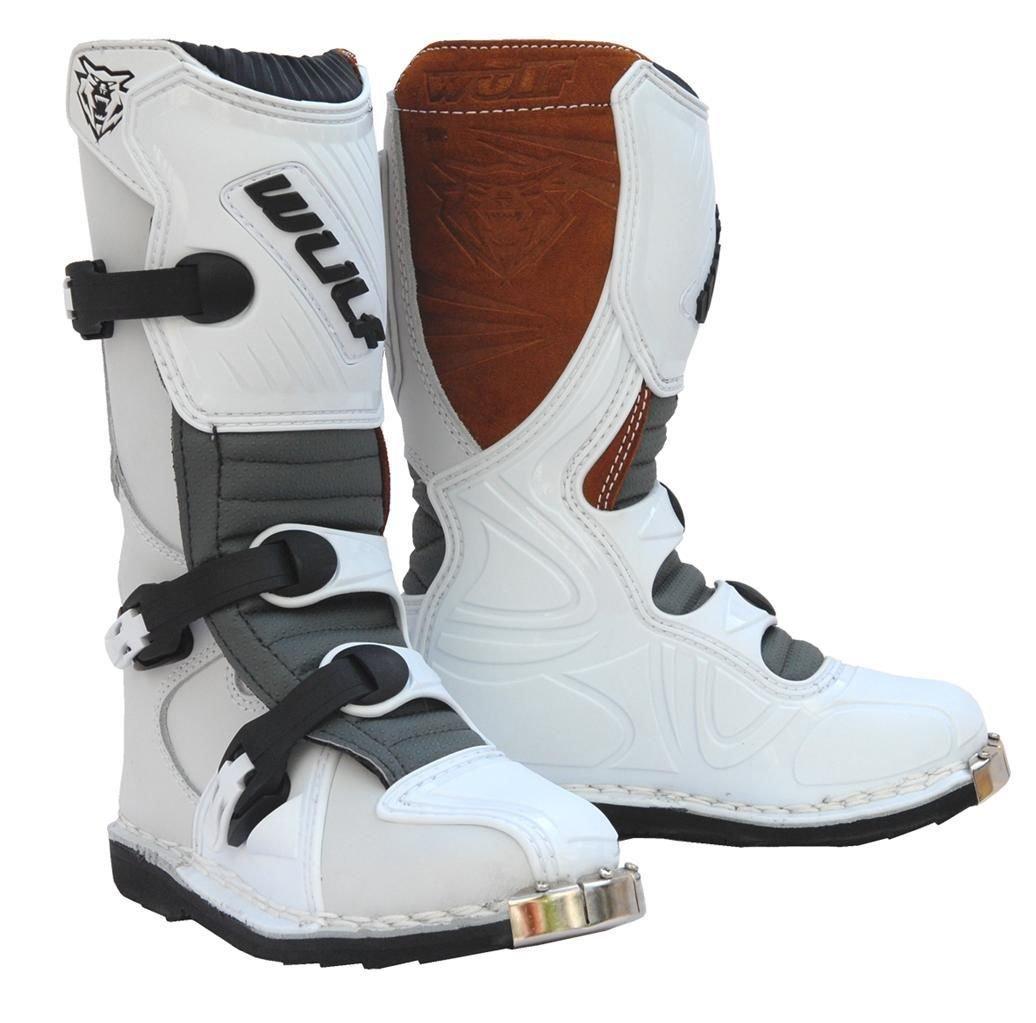 Wulfsport Cub LA Junior Kids Leather Motocross Boots (EU 31 / UK Kids 12, White)