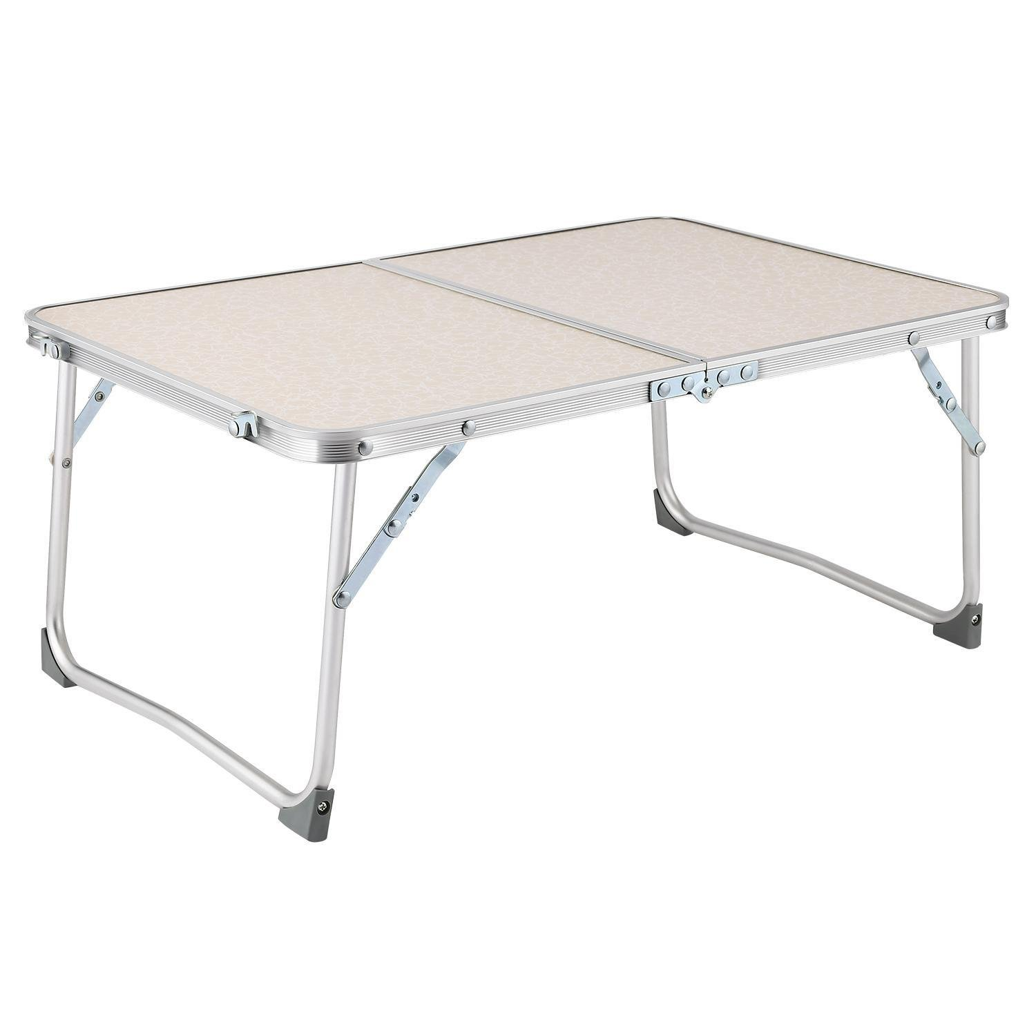 Lantusi Aluminum Camping Folding Table with Carrying Handle, Folding Utility Table, Indoor Outdoor Use Patio Camp Party Table, US STOCK (White)