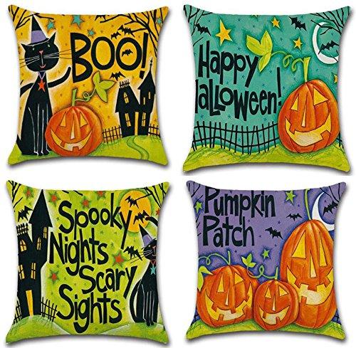 Hixixi 4-Pack Happy Halloween Black Cat Bat Throw Pillow Case Cotton Linen Sushion Cover Pumpkin Kids Home (Happy Halloween Pumpkin Throw Pillow)