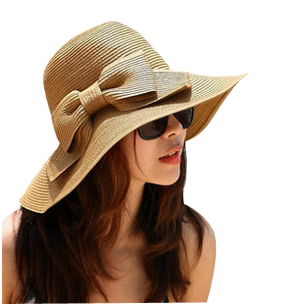 Amazon.com  EUBUY Korean Style Women Lady Floppy Wide Brimmed Sun Visor  Straw Hat Summer Beach Hat Cap (Coffee)  Home Improvement 612e0b61781