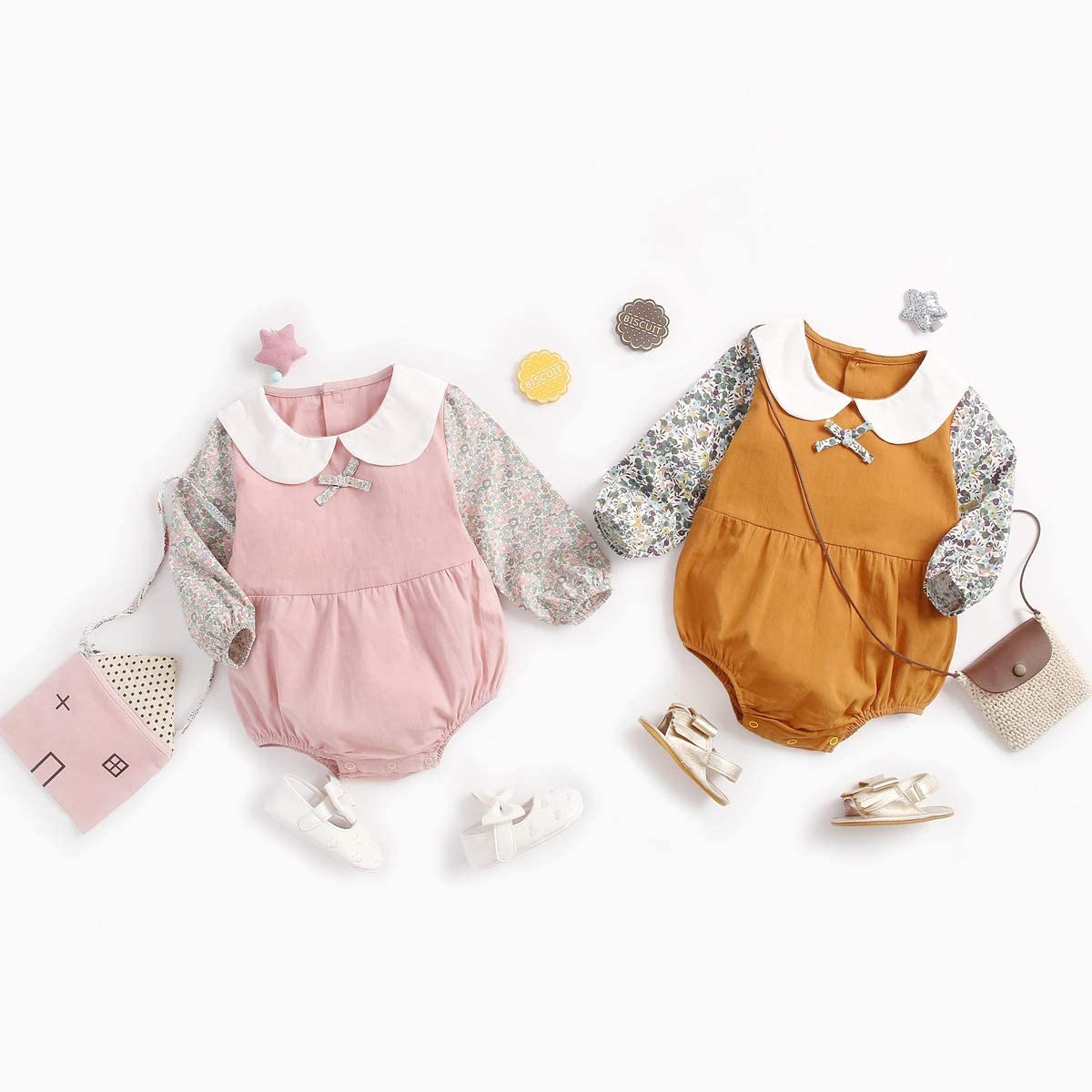 Sanlutoz Cotton Newborn Baby Romper Cute Doll Collar Princess Baby Girls Rompers