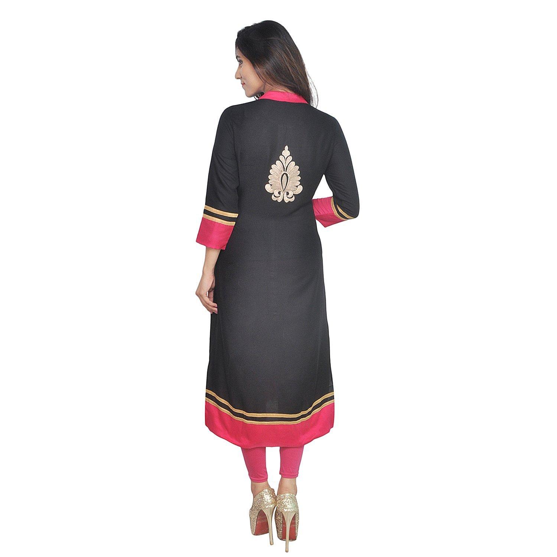 Chichi Indian Women Kurta Kurti 3/4 Sleeve Medium Size Plain with Side-Front Cut Straight Black Top by CHI (Image #5)