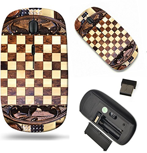 MSD Wireless Mouse Travel 2.4G Wireless Mice with USB Receiver, Noiseless and Silent Click with 1000 DPI for notebook, pc, laptop, computer, mac book design: 35308567 Checkerboard of the round shape m Round Shape Checkerboard