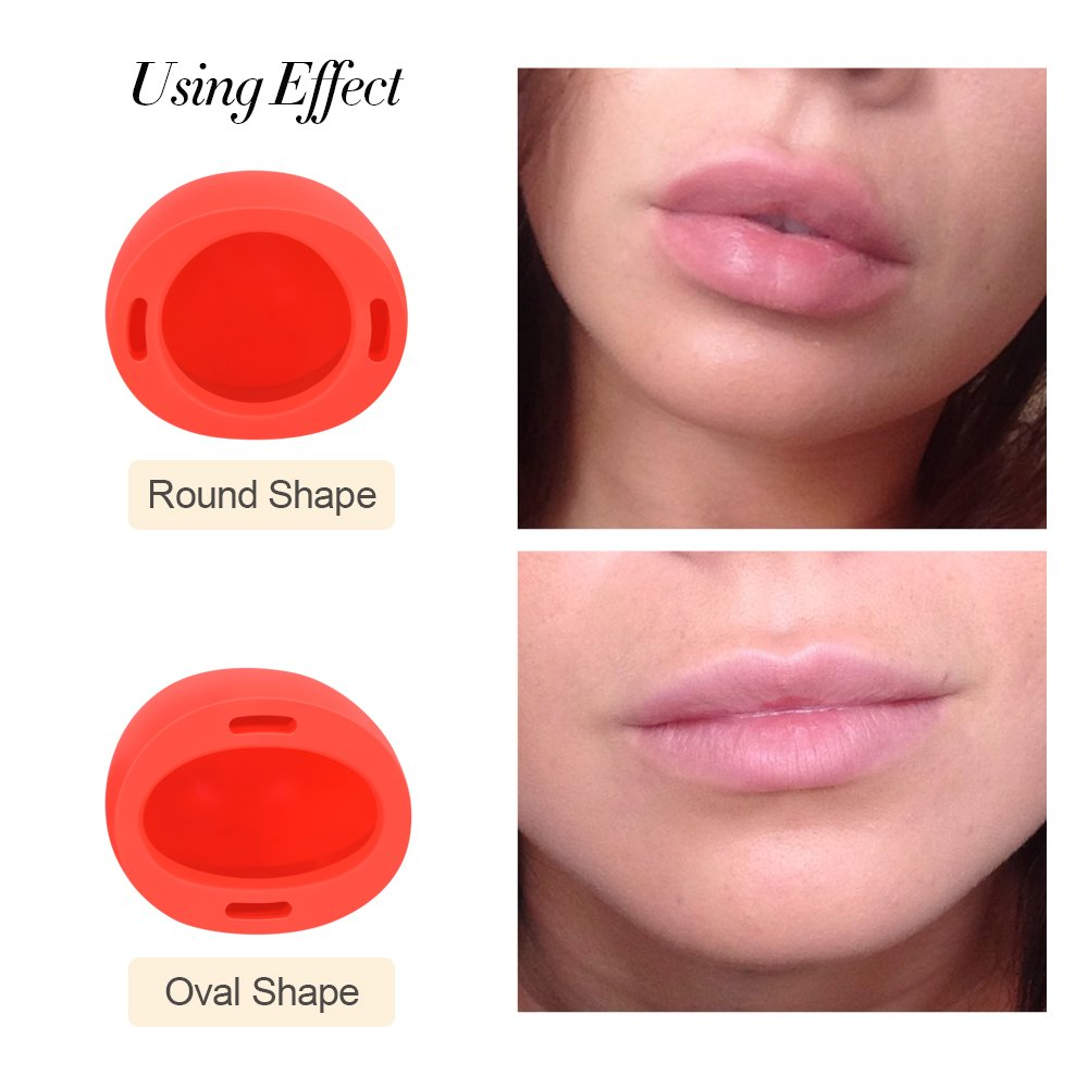 Lip Plumper Device - MEXITOP Sexy Full Lip Plumping Enhancer, Portable Cute Cherry Design, Quick Lip Pump Enhancement for Hot Beauty Lip, Great Gift for Female and Friends, Oval & Round Included