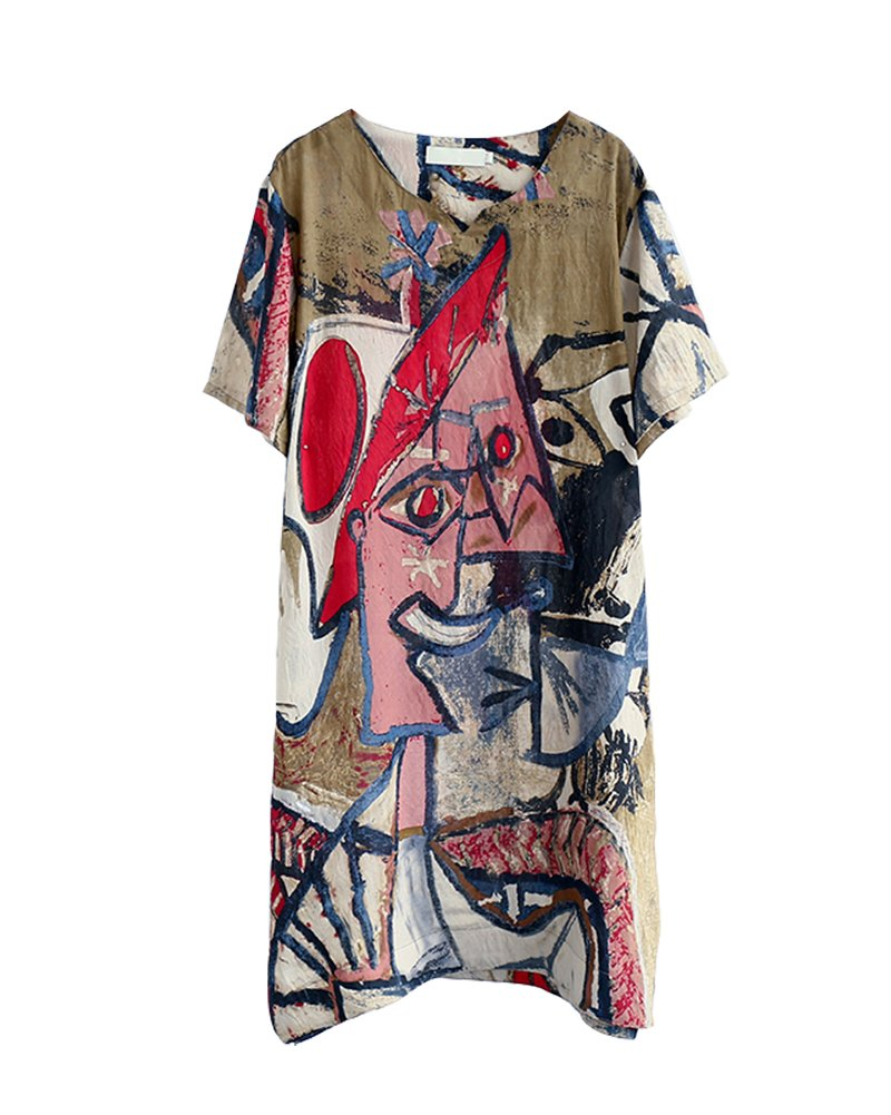 HOOBEE LINEN Women's Graffiti Print Split Baggy Dress with Pockets