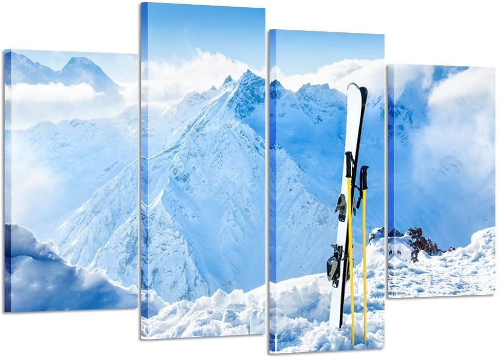 Kreative Arts - 4 Piece Canvas Prints Wall Art Winter Mountains and Ski Equipment in the Snow Landscape Pictures Modern Home Decor Stretched and Framed Ready to Hang for Office and Living Room