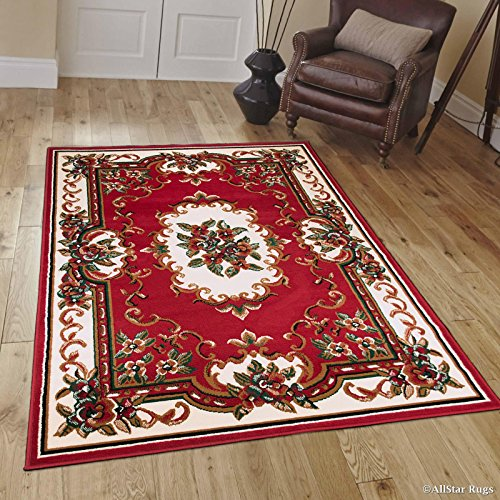 Maxstock Taj Mahal Collection Persian Traditional Design Rectangular Area Rugs -Red/Beige/Green/Ivory (8 Feet x 10 ()