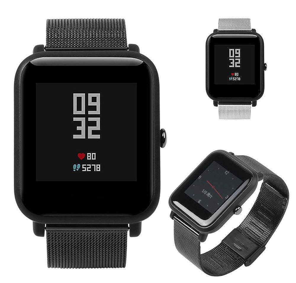 Correa para Xiaomi Amazfit Bip Youth Watch LANSKIRT Banda de Reloj Pulsera de Acero Inoxidable milanesa Correas metalicas Recambio Brazalete Extensibles: ...