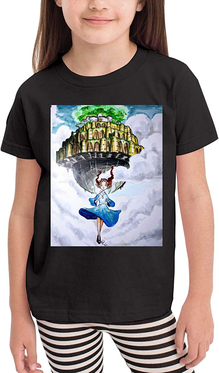 WYeter Castle in The Sky Childrens Funny Short Sleeve Tee Black