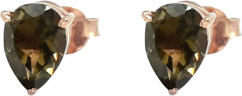 Silvesto India - Pendiente de plata de ley 925 con piedras preciosas naturales ahumadas para mujer, chapado en oro rosa