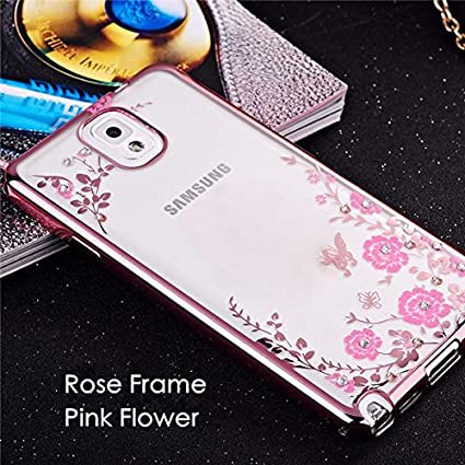 competitive price 24ea6 b5888 LOXXO Shockproof Silicone Soft TPU Transparent Auora Flower Case with  Sparkle Swarovski Crystals for Samsung Galaxy Note 3 Back Cover(Gold and  Pink)