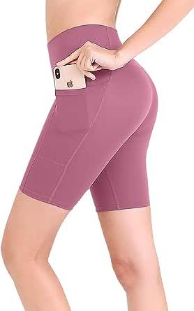 FANDIMU Women Yoga Shorts High Waisted Running Shorts with Pocket