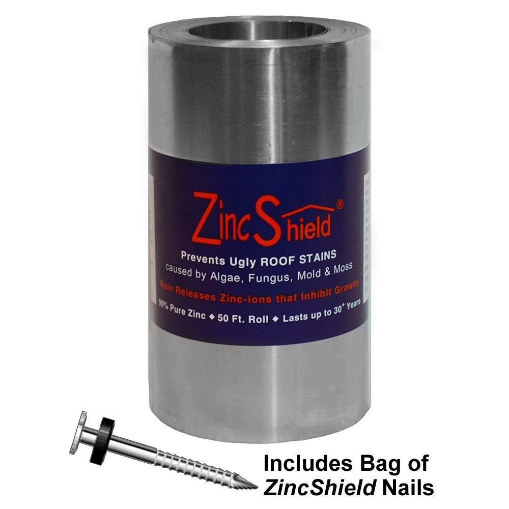 ZincShield Pure Zinc Strip & Bag of Nails Installation Kit - Avoid Ugly Roof Stains from Moss, Algae, Fungus, and Mildew, 50 Foot Roll (6'') - Made in The USA