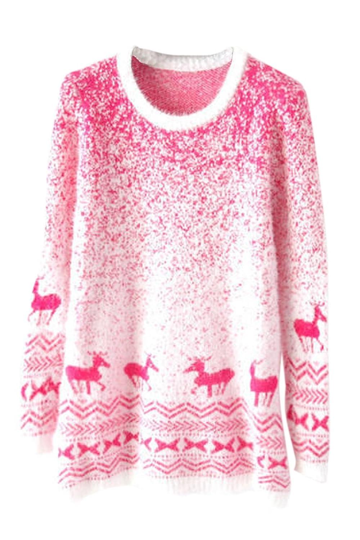 Pink Queen Women Reindeer Print Knit Christmas Jumper Sweater
