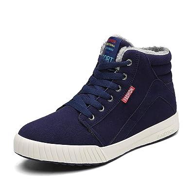 5e02bd410981 Winterschuhe Herren Warm Gefüttert Schneestiefel Winter Schuhe Ankle Boots  Outdoor Sneaker Schnüren Sportschuhe Schwarz Blau Grün