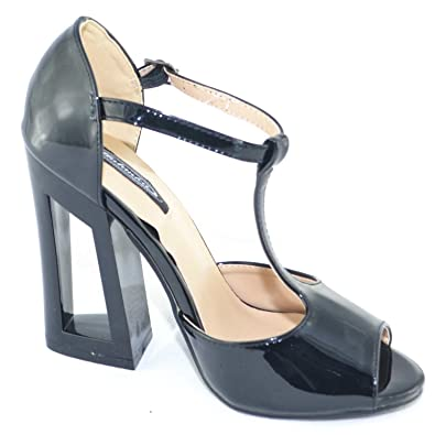Sandali neri in vernice con tacco largo scarpe donna tacco