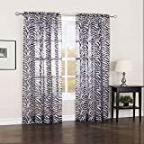 "Online Desire 1pc Solid Zebra 84"" Long Elegant Sheer Curtains Fully Stitched Panels Window Treatment Drapes..."