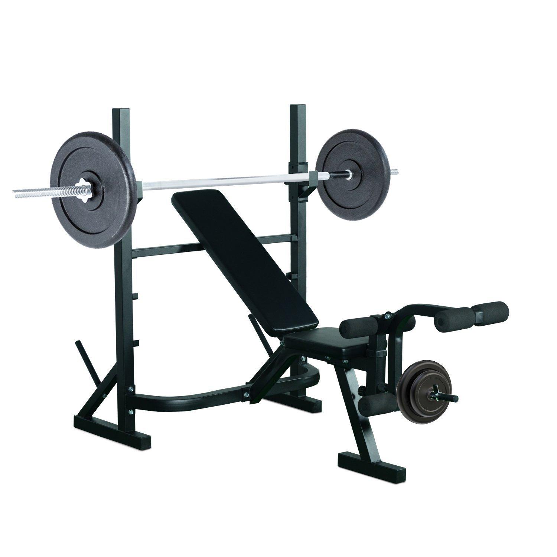 HOMCOM Banco de Pesas Entrenamiento de Musculación Fitness con Respaldo Regulable 175x98x30cm Color Negro product image