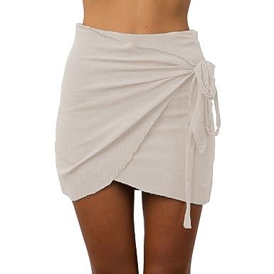 331af38f80 structure n Summer Women Tie up Beach Short Skirts Irregular High ...