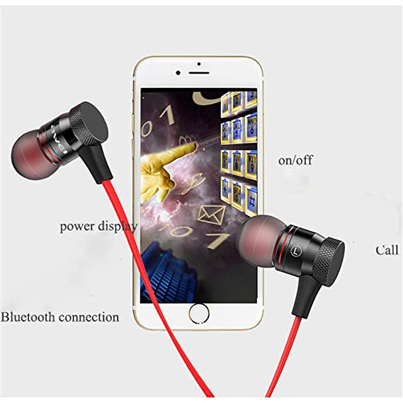 Amazon.com: LXJTT Magnetic Wireless Sports Bluetooth Headset Mini Metal in-Ear Headphones Mobile Phone Power Display, Call Function, Multi-Point Connection ...