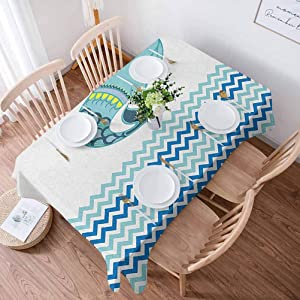 Anmaseven Whale Kitchen Table Cloth 55x102 Inch Big Ornamental Tailed Design Whale with Zig Zag Pattern Ocean Wave Artwork Print Printing Wedding Birthday Party Outdoor Table Cloth