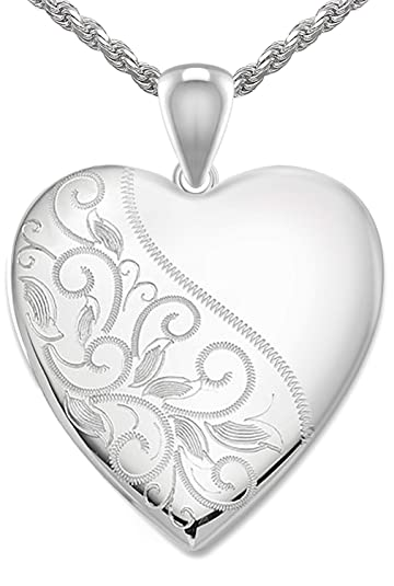 Amazon Com Womens 1in 0 925 Sterling Silver 2 Photo Scrolled Heart