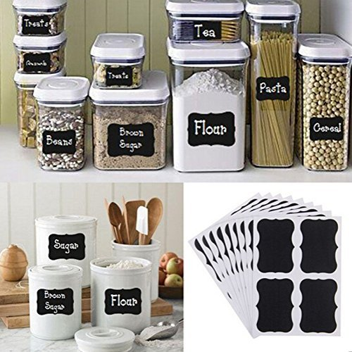 Chalkboard Labels,Liangxiang 108 Pcs Premium Jars Stickers Erasable Reusable Kitchen Tag for spice bottles Candy jar Mason Jars (108 PCS BLACK)