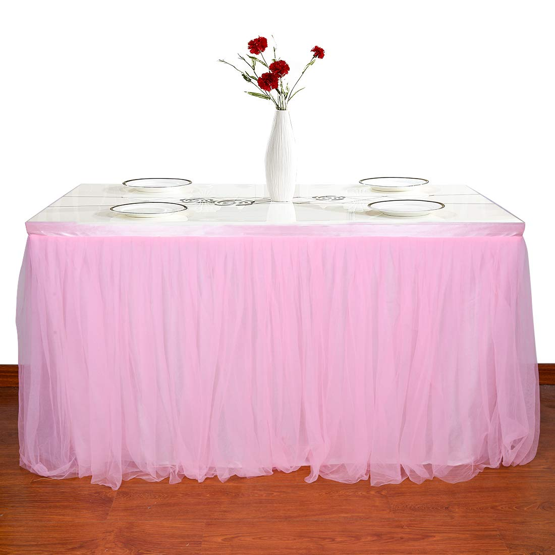 L6 Femery Tulle Table Skirt for Rectangle or Round Table for Party,Wedding,Birthday Party/&Home Decoration,Table Skirting ft H 30in, Pink