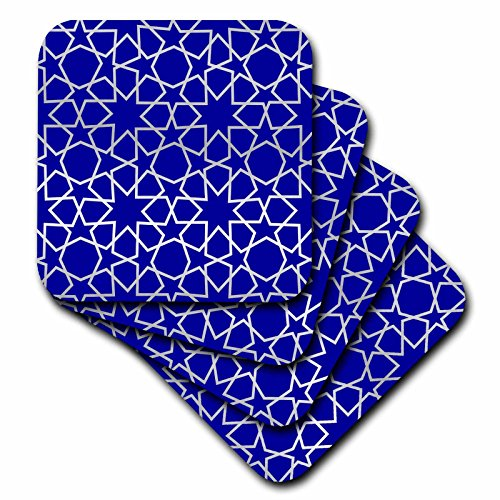 (3dRose cst_56724_3 Silver Stars Outline Geometric Intricate Islamic Art Pattern on Blue Ceramic Tile Coasters, Set of 4)