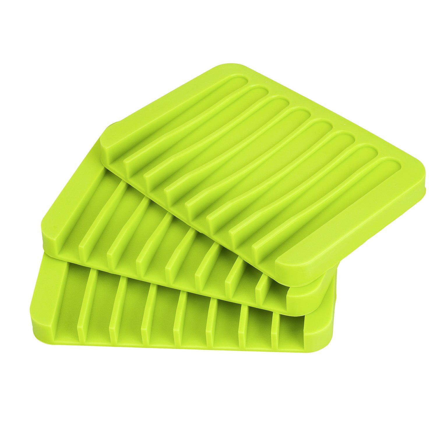 YXChome Soap Tray Silicone Sponge Tray//3 Pack Green Soap Rest//Soap Holder-Soap Saver//Shower Waterfall Soap Dishes and Sponge Rest for Bathroom and Kitchen
