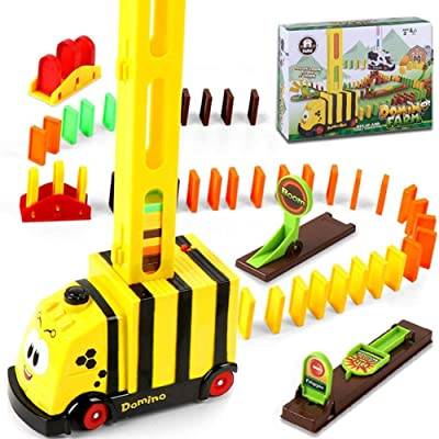 hunmansaf 100pcs Domino Train Toy Gifts for Kids Train Domino Set Puzzle Educational Plastic Dominoes Train (Yellow, OneSize): Sports & Outdoors