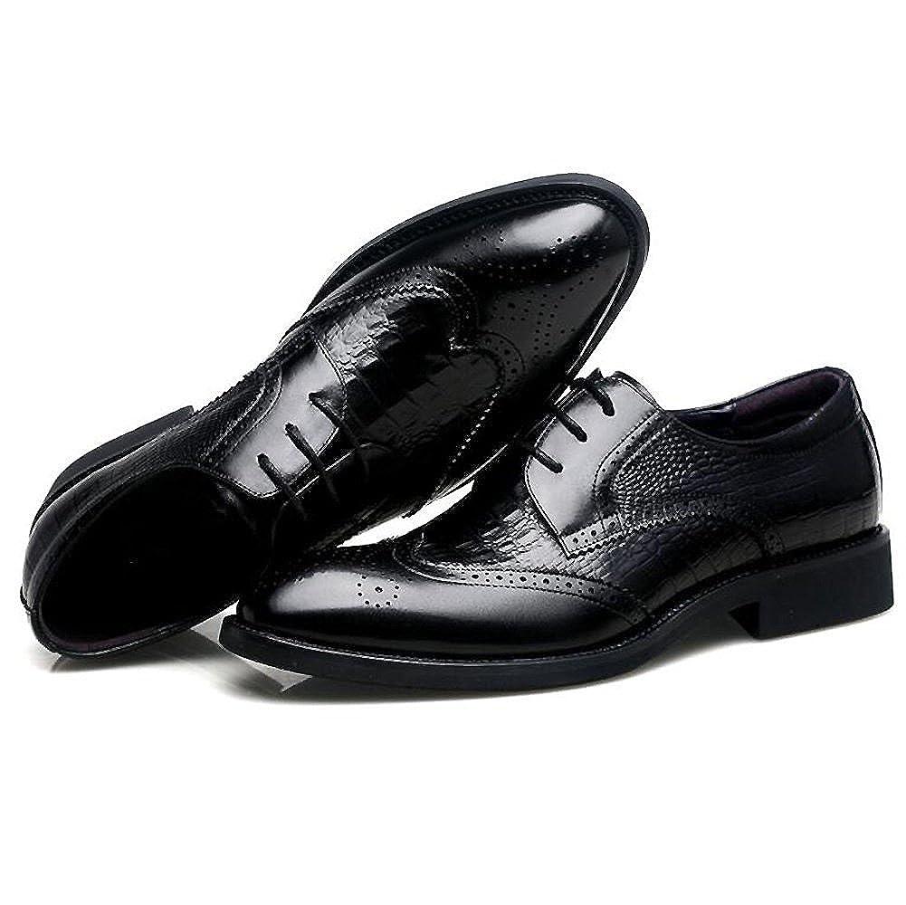 Men's Leather Casual schuhe schuhe Casual Dress Herbst Große Füße Hochzeit Mode Rutschen Schwarzbraun 83ae4f