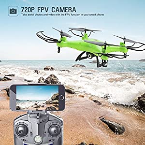 Holy Stone HS110 FPV RC Drone with Camera 720P HD Live Video WiFi 2.4GHz 4CH 6-Axis Gyro RC Quadcopter with Altitude Hold, One Key Return and Headless Mode Function RTF, Color Green by Holy Stone