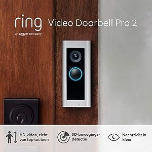 Maak kennis met de Ring Video Doorbell Pro 2 van Amazon | HD-video, zicht van top tot teen, 3D-bewegingsdetectie, bedrade installatie, met een gratis proefperiode van 30 dagen Ring Protect