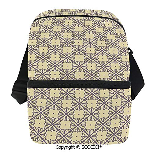 SCOCICI Thermal Insulation Bag Oriental Themed Blossoms with Abstract Foliage Pattern Diagonal Lines Decorative Lunch Bag Organizer for Women Men Girls Work School Office -
