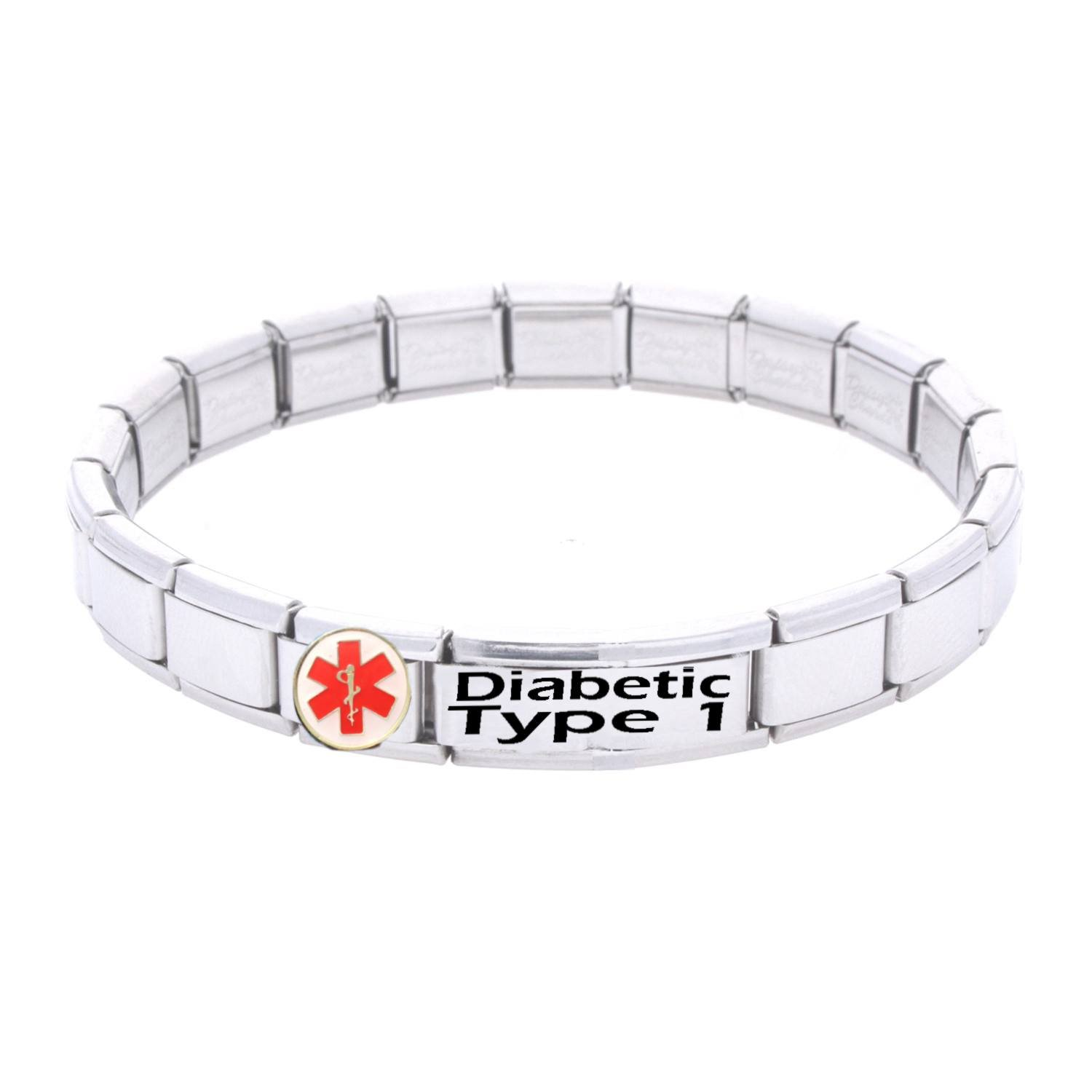 jewelry diabetes id bracelet type pin alert diabetic medical