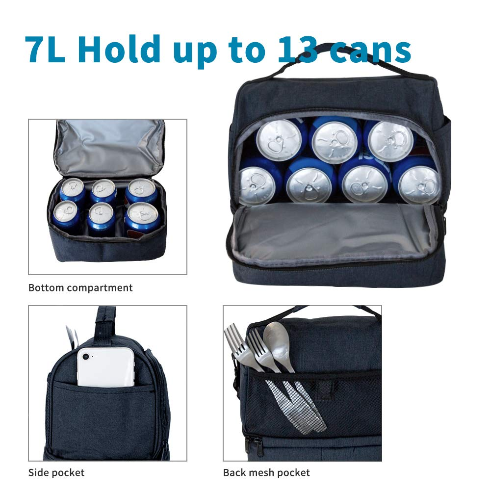 Lunch Bag Insulated Lunch Box, 2 Compartment Leakproof Cooler Tote Bag with Adjustable Shoulder Strap for Women,men,kids, Thermal Lunch Food Bag for Office/Picnic/Travel/Camping - Dark Blue