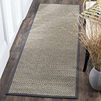 Safavieh Natural Fiber Collection NF151A Natural and Grey Runner, 26 x 8