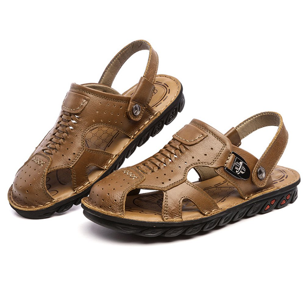 Navoku Men's Closed Toe Leather Casual Summer Sandals Brown 42 8.5 D(M) US by Navoku (Image #3)